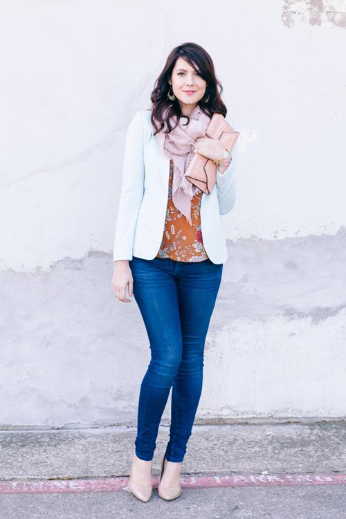 white blazer + scarf