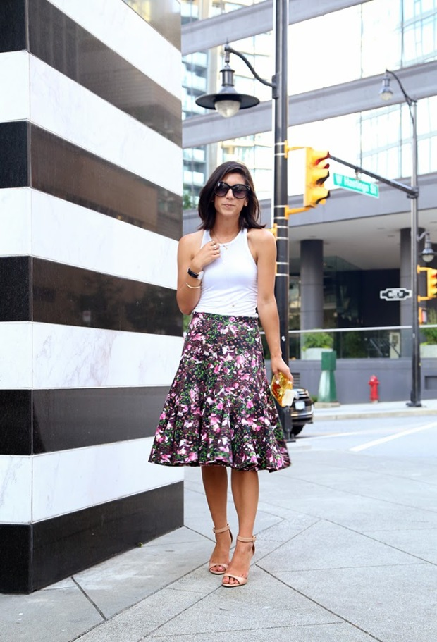floral skirt and white tank
