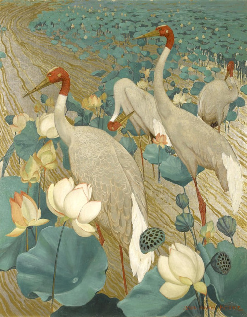 Jessie Arms Botke (1883-1971) - Sarus Cranes and Lotus, oil an gold leaf on canvas, 102,9 x 82,6 cm